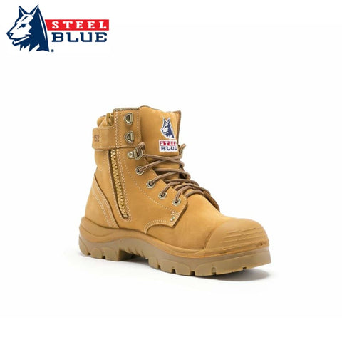 Steel Blue Safety Boot Argyle Zip Bump Toe Wheat Footwear