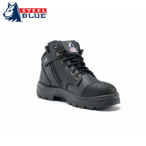 Steel Blue Safety Boot Parkes Scuff Cap Zip Black Workwear