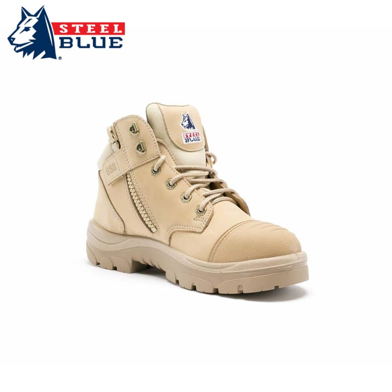 Steel Blue Safety Boot Parkes Scuff Cap Zip Sand Workwear