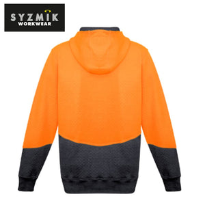 Syzmik - Hoodie Textured Jacquard Unisex Full Zip Orange/charcoal Workwear