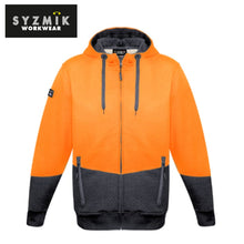 Load image into Gallery viewer, Syzmik - Hoodie Textured Jacquard Unisex Full Zip Orange/charcoal Workwear