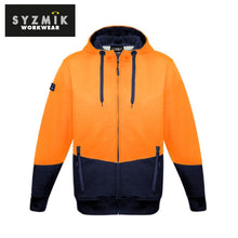 Load image into Gallery viewer, Syzmik - Hoodie Textured Jacquard Unisex Full Zip Orange/navy Workwear