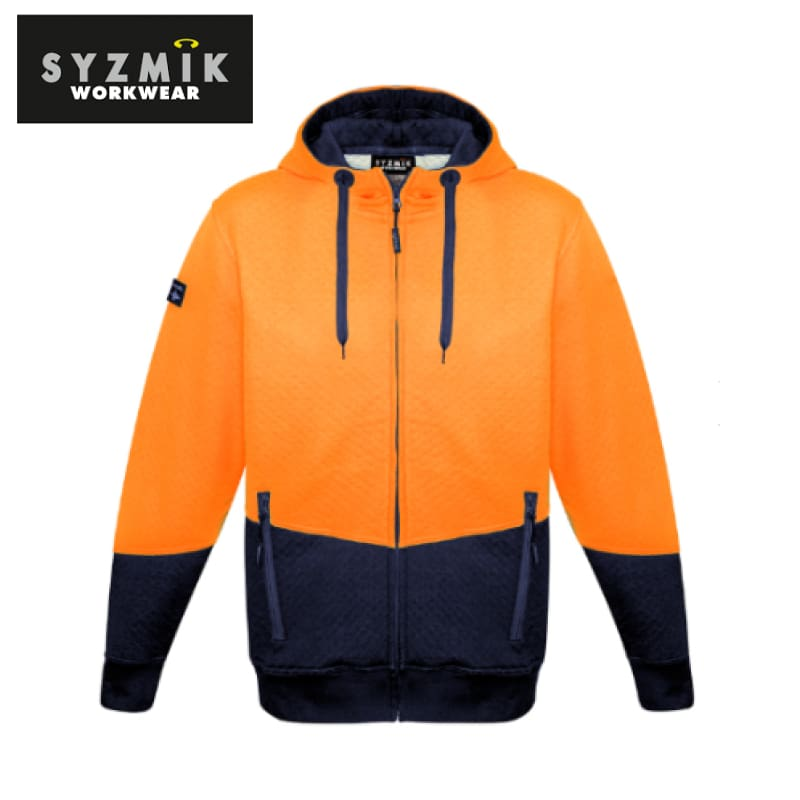 Syzmik - Hoodie Textured Jacquard Unisex Full Zip Orange/navy Workwear