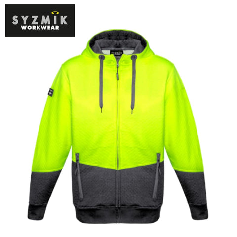 Syzmik - Hoodie Textured Jacquard Unisex Full Zip Yellow/charcoal Workwear