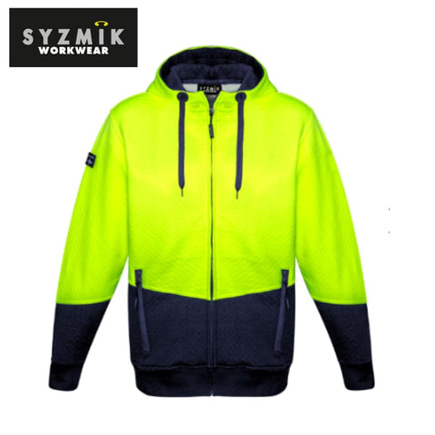Syzmik - Hoodie Textured Jacquard Unisex Full Zip Yellow/navy Workwear