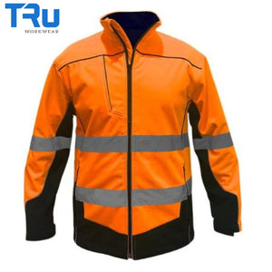 Tru Workwear - Jacket Soft Shell Poly/spandex Reflective Tape & Piping O/n