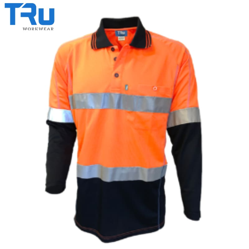 Tru Workwear - L/s Polo Micromesh Tape Orange/navy