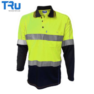 Tru Workwear - L/s Polo Micromesh Tape Yellow/navy