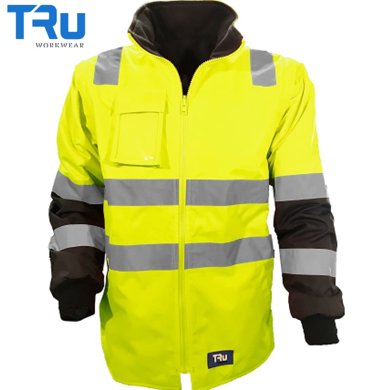 Tru Workwear - Rain Jacket Removable Sleeves Tape Yellow/navy