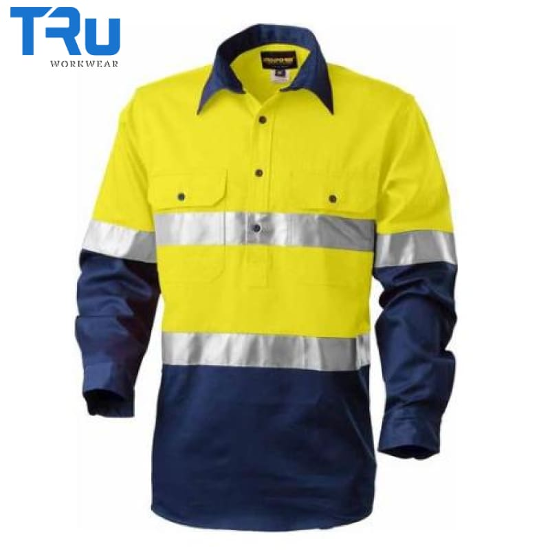 Tru Workwear - Shirt Lt Cotton Drill Close Front 3M Tape Horz Vents Y/n