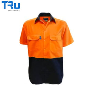 Tru Workwear -S/s Shirt Light Cotton Drill Vent Orange/navy