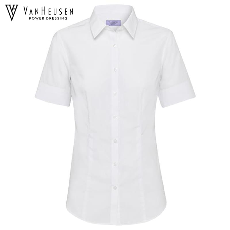 Van Heusen Ladies Classic Fit S/s Shirt White Workwear