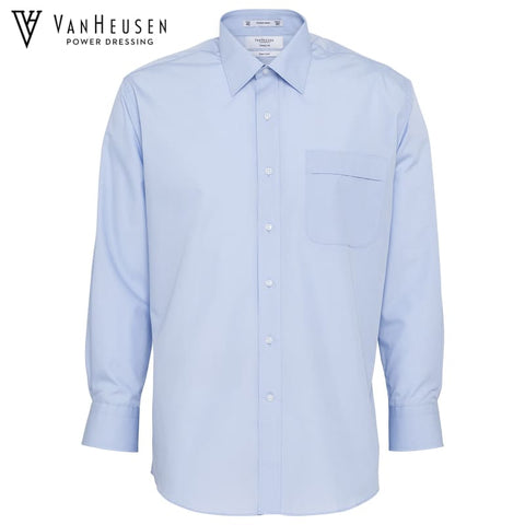 Van Heusen Mens Classic Relaxed Fit Shirt Blue Workwear