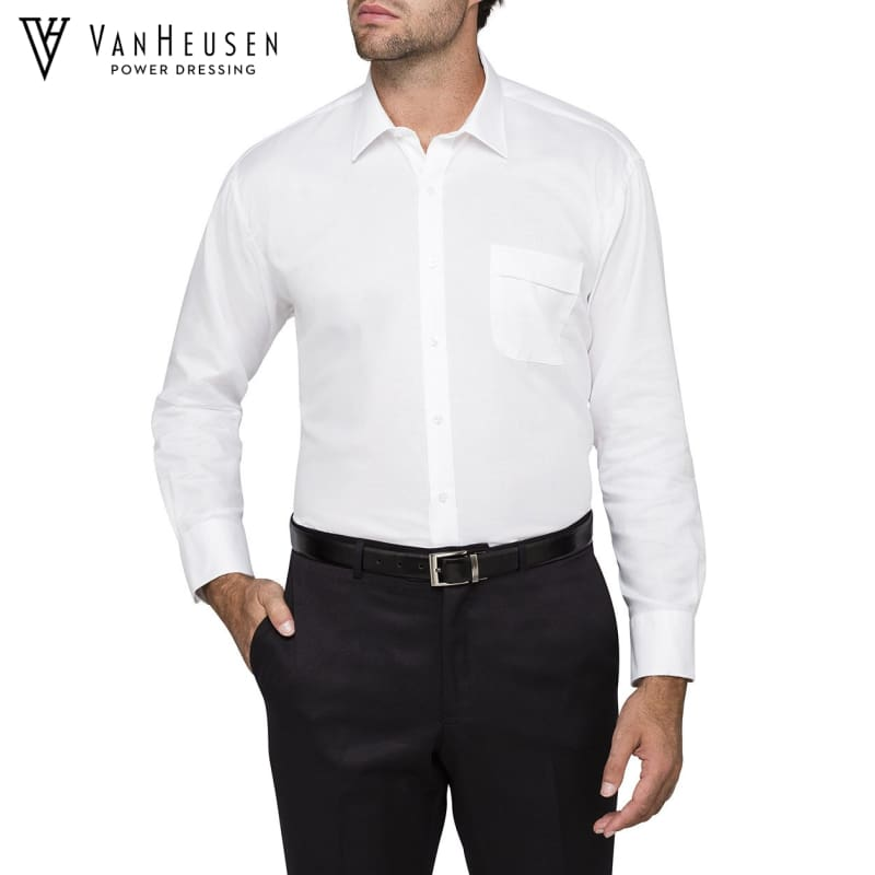 Van Heusen Mens Classic Relaxed Fit Shirt White Workwear
