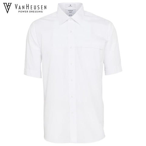 Van Heusen Mens Classic Relaxed Fit S/s Shirt White Workwear