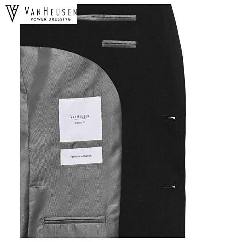 Van Heusen Mens Suit Jacket Stretch Wool Blend Black