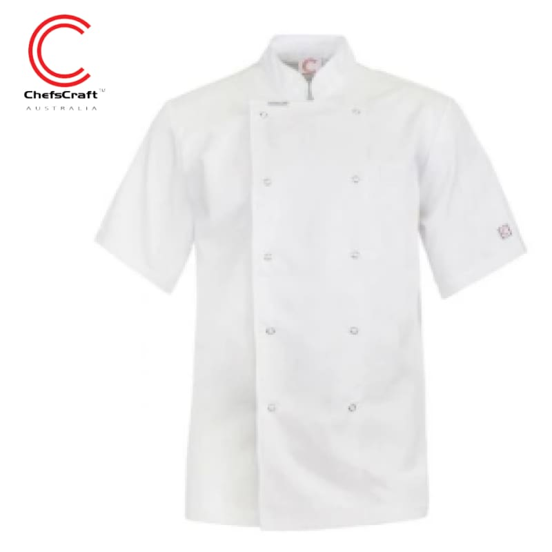 Workcraft Chefs Jacket Excutive With Press Studs S/sleeve White Workwear