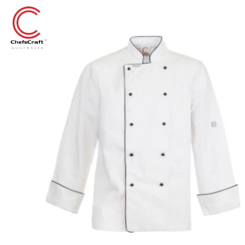 Workcraft Chefs Jacket Executive With Piping White Workwear