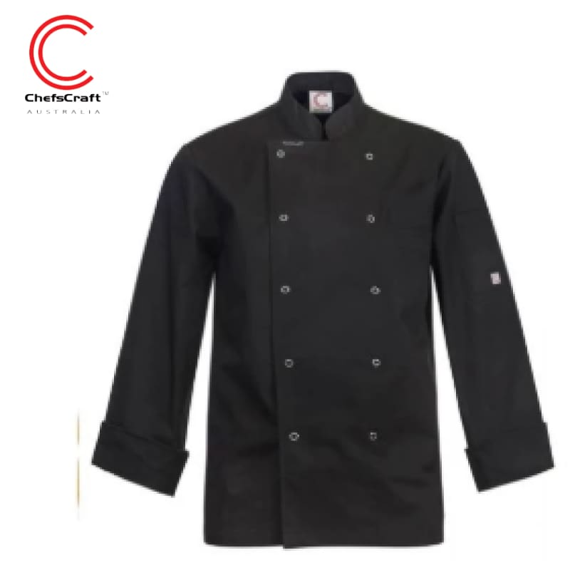 Workcraft Chefs Jacket Executive With Press Studs L/sleeve Black Workwear