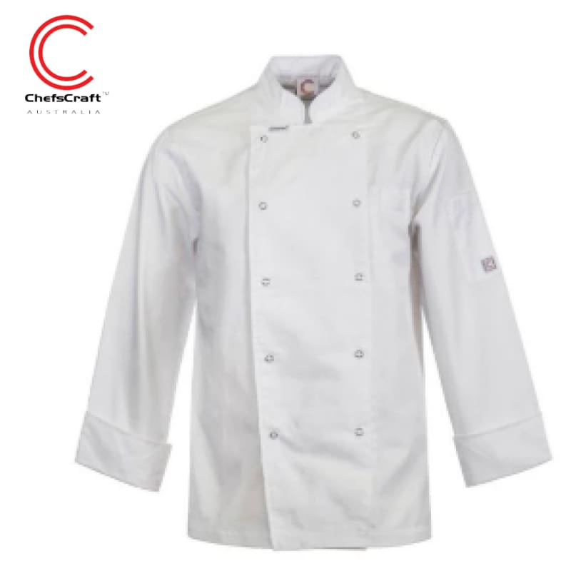 Workcraft Chefs Jacket Executive With Press Studs L/sleeve White Workwear