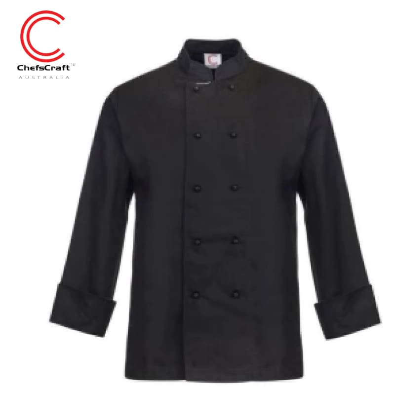 Workcraft Chefs Jacket L/sleeve Black Workwear