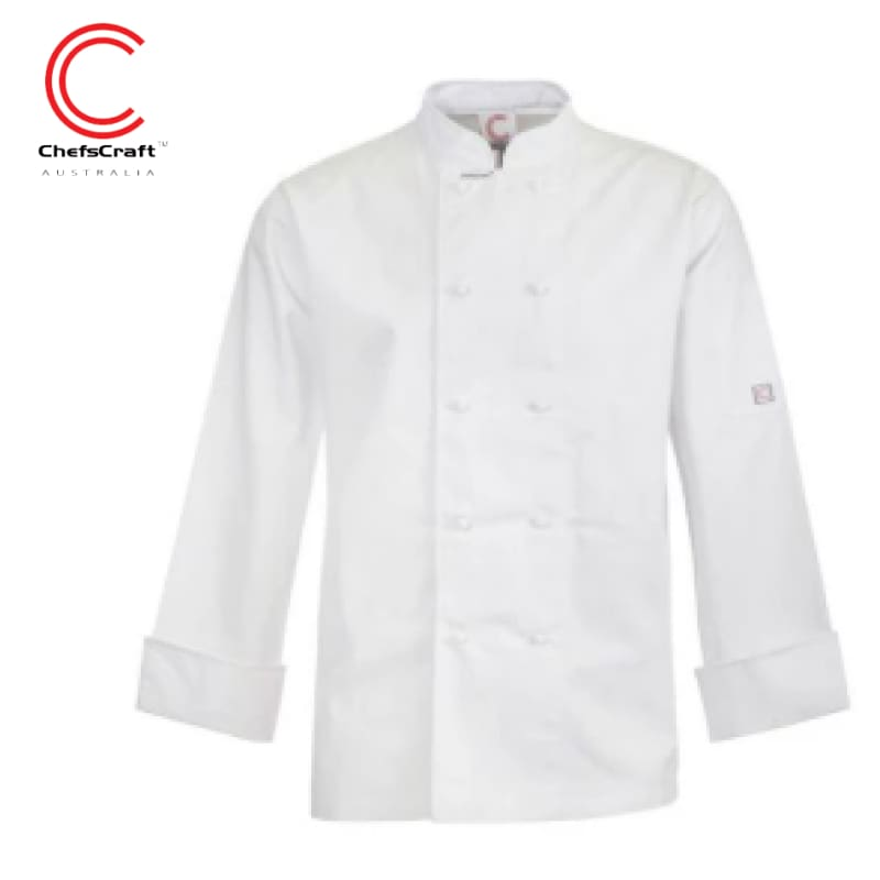Workcraft Chefs Jacket L/sleeve White Workwear
