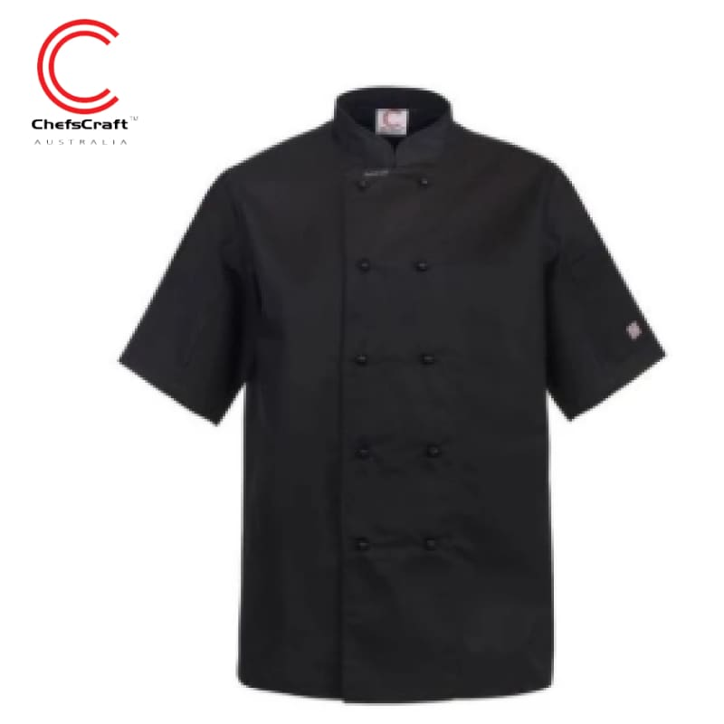 Workcraft Chefs Jacket S/short Black Workwear
