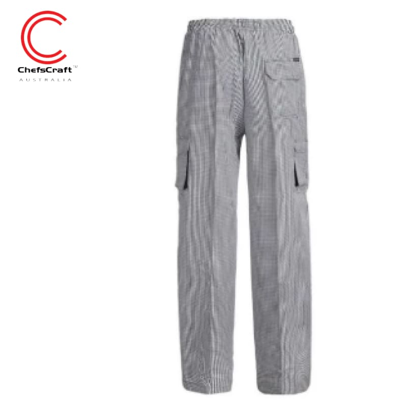 Workcraft Chefs Pants Drawstring Black/white Check Workwear