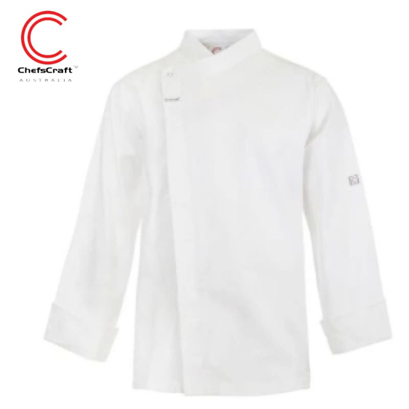 Workcraft Chefs Tunic With Concealed Front L/sleeve White Workwear