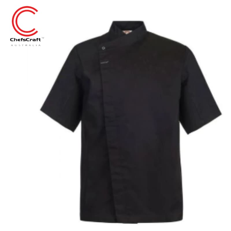 Workcraft Chefs Tunic With Concealed Front S/sleeve Black Workwear