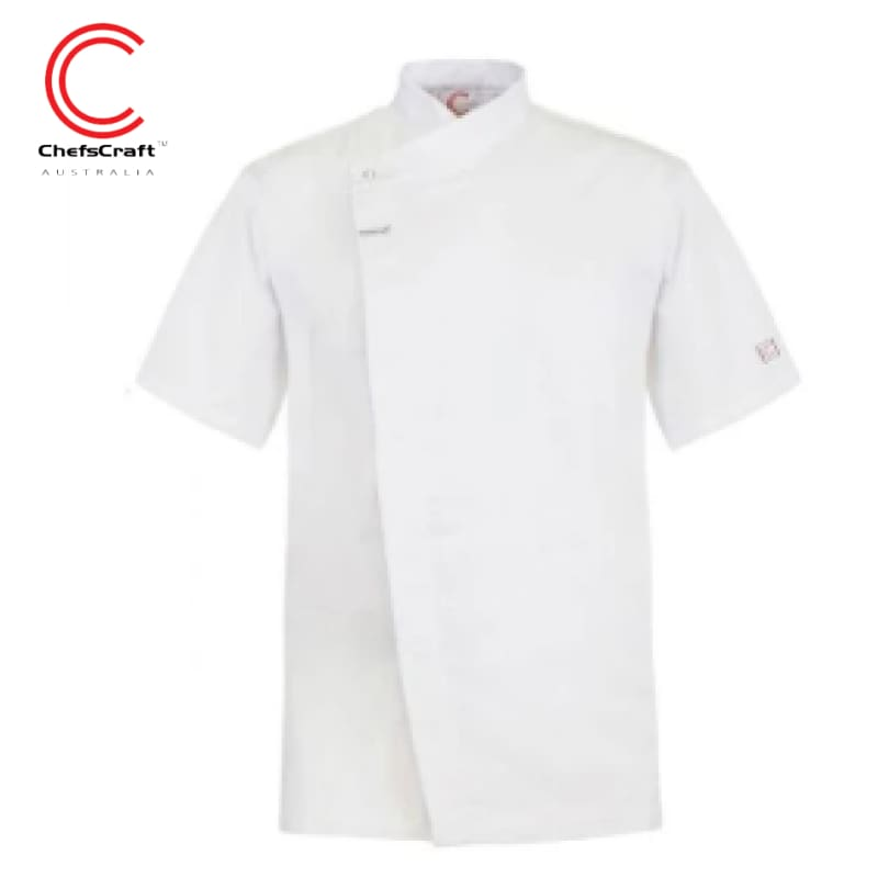 Workcraft Chefs Tunic With Concealed Front S/sleeve White Workwear