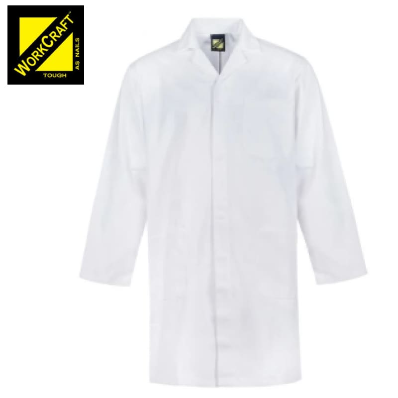 Workcraft Dustcoat Long Length With Mandarin Collar White Workwear