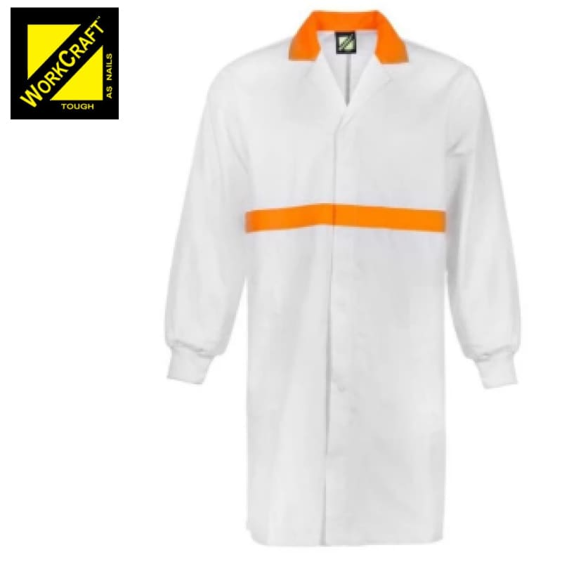Workcraft Dustcoat L/sleeve Food Industry Chest Pockets And Side White/orange Workwear