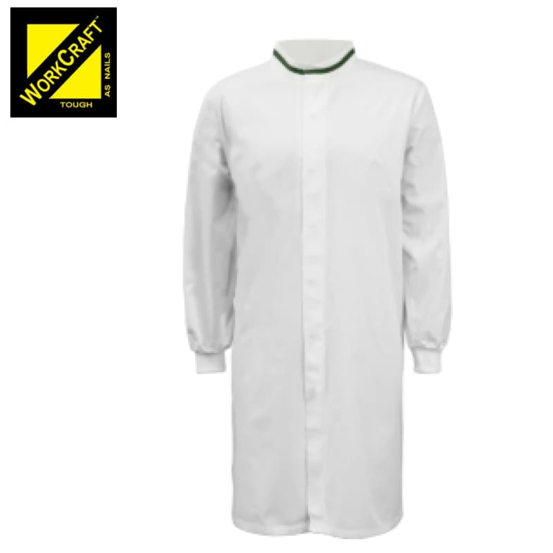 Workcraft Dustcoat L/sleeve With Mandarin Collar Contast Trim In White/green Workwear