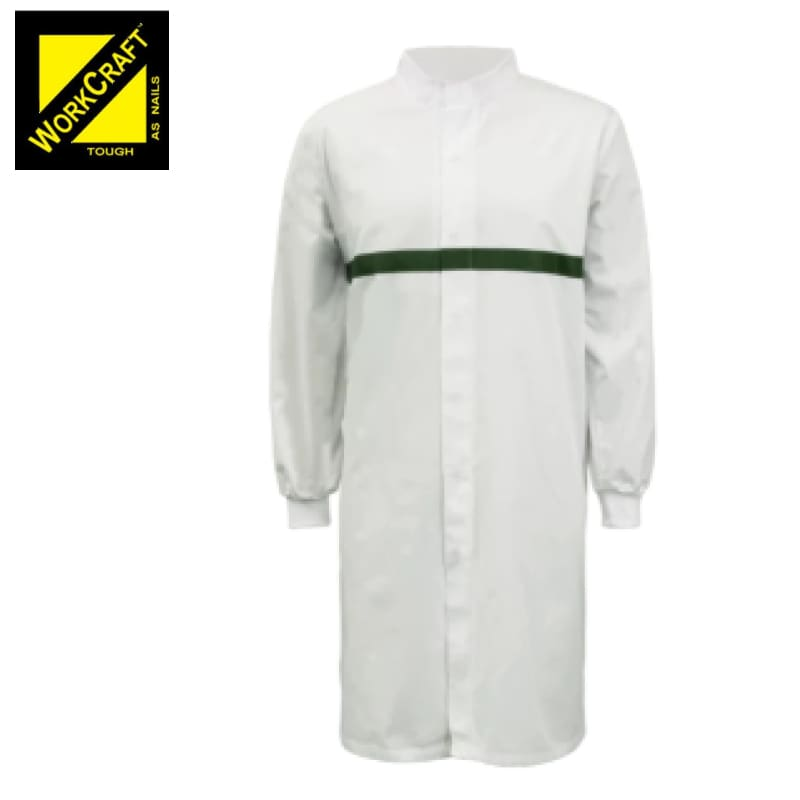 Workcraft Dustcoat L/sleeve With Mandarin Collar Contast Trims On Chest White/green Workwear