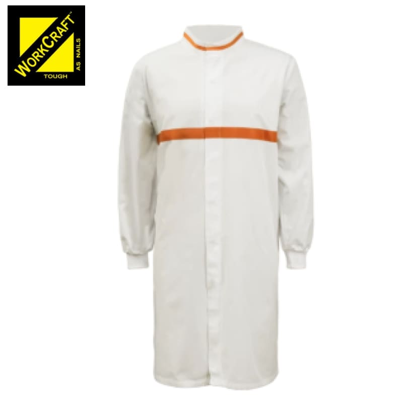Workcraft Dustcoat L/sleeve With Mandarin Collar Contast Trims On Chest White/orange Workwear