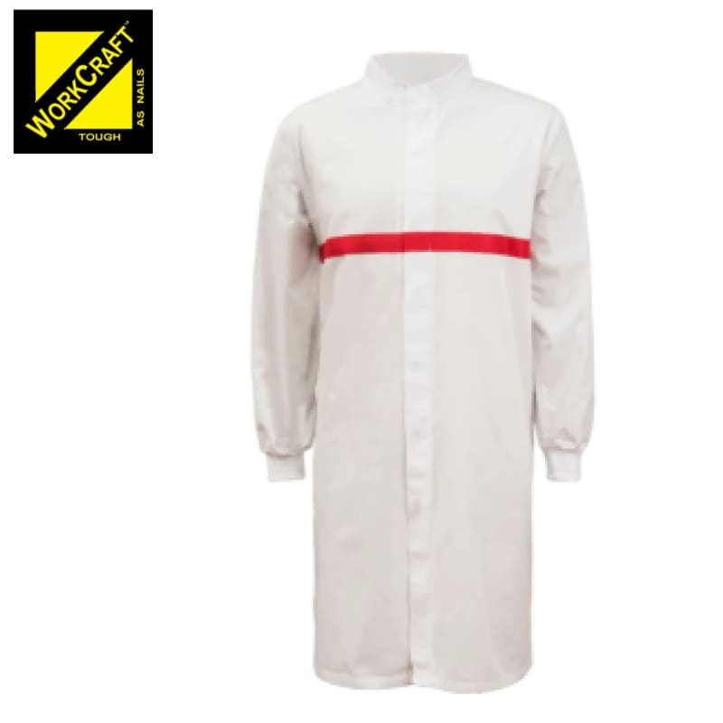 Workcraft Dustcoat L/sleeve With Mandarin Collar Contast Trims On Chest White/red Workwear