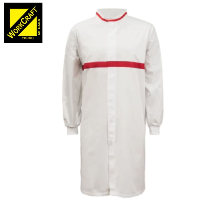 Workcraft Dustcoat L/sleeve With Mandarin Collar Contrast Trims White/red Workwear