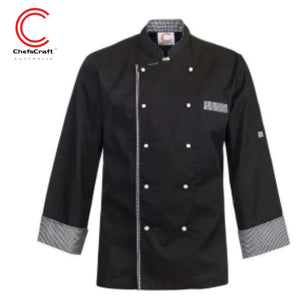 Workcraft Exceutive Chefs Jacket Light Weight Vented With Checked Detail L/sleeve Black Workwear