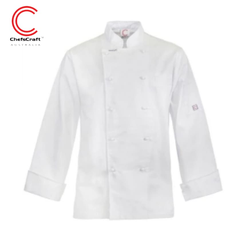 Workcraft Excutive Chefs Jacket Light Weight L/sleeve White Workwear