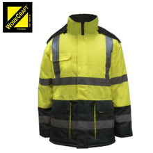 Load image into Gallery viewer, Workcraft Freezer Jacket Two Tone With Reflective Tape Green/yellow Workwear