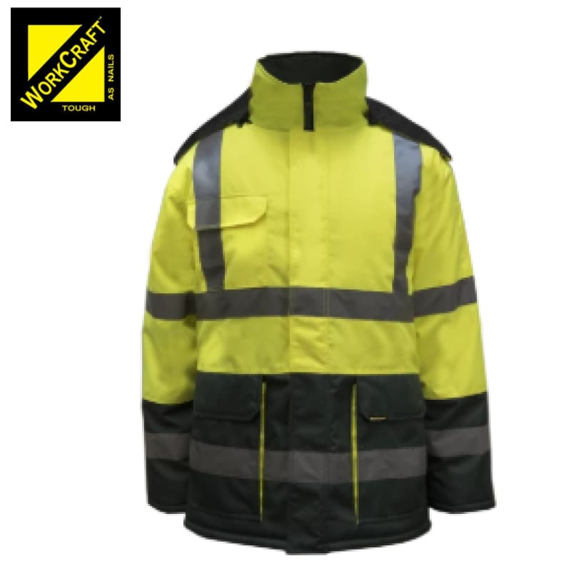 Workcraft Freezer Jacket Two Tone With Reflective Tape Green/yellow Workwear