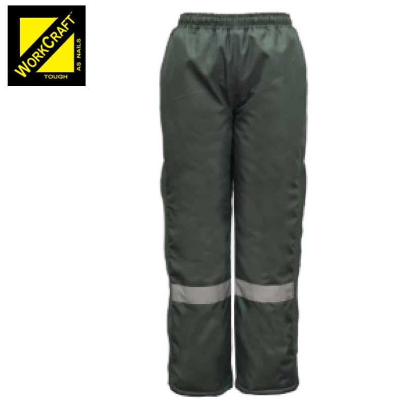 Workcraft Freezer Pants With Reflective Tape Green Workwear