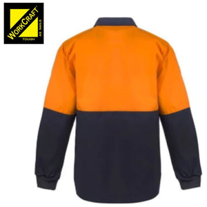 Workcraft Jac Shirt Food Industry Hi Vis L/sleeve Two Tone With Contrast Collar Orange/navy Workwear