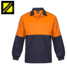 Load image into Gallery viewer, Workcraft Jac Shirt Food Industry Hi Vis L/sleeve Two Tone With Contrast Collar Orange/navy Workwear