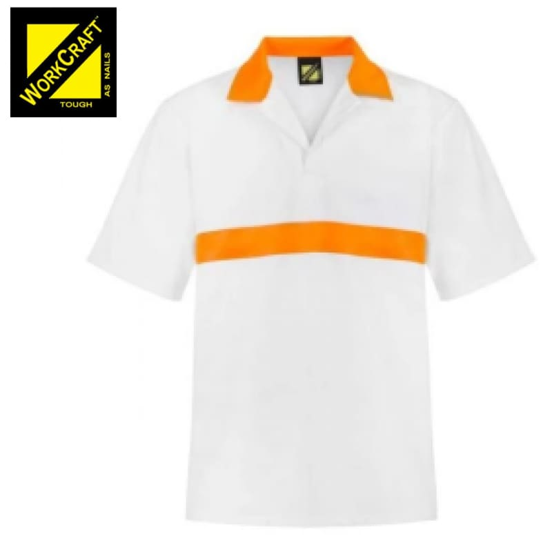 Workcraft Jac Shirt Food Industry S/sleeve With Contrast Collar And Chestband White/orange Workwear