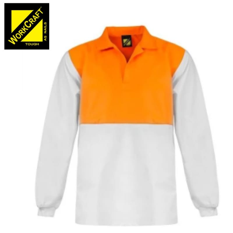 Workcraft Jac Shirt Hi Vis Food Industry L/sleeve White/orange Workwear
