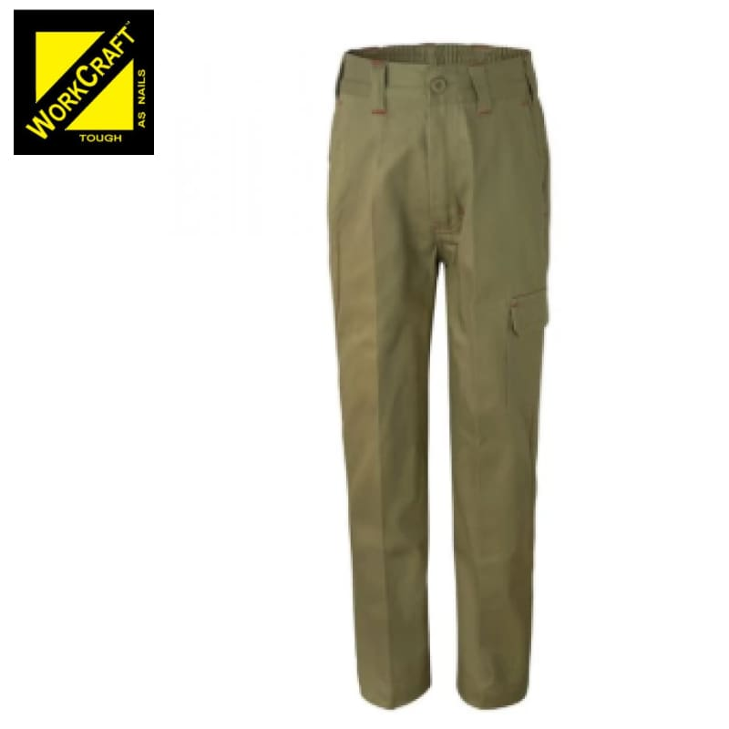 Workcraft Kids Cargo Trousers Cotton Drill Khaki Workwear