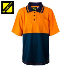 Load image into Gallery viewer, Workcraft Kids Polo S/sleeve Pocket Two Tone Micromesh Orange/navy Workwear