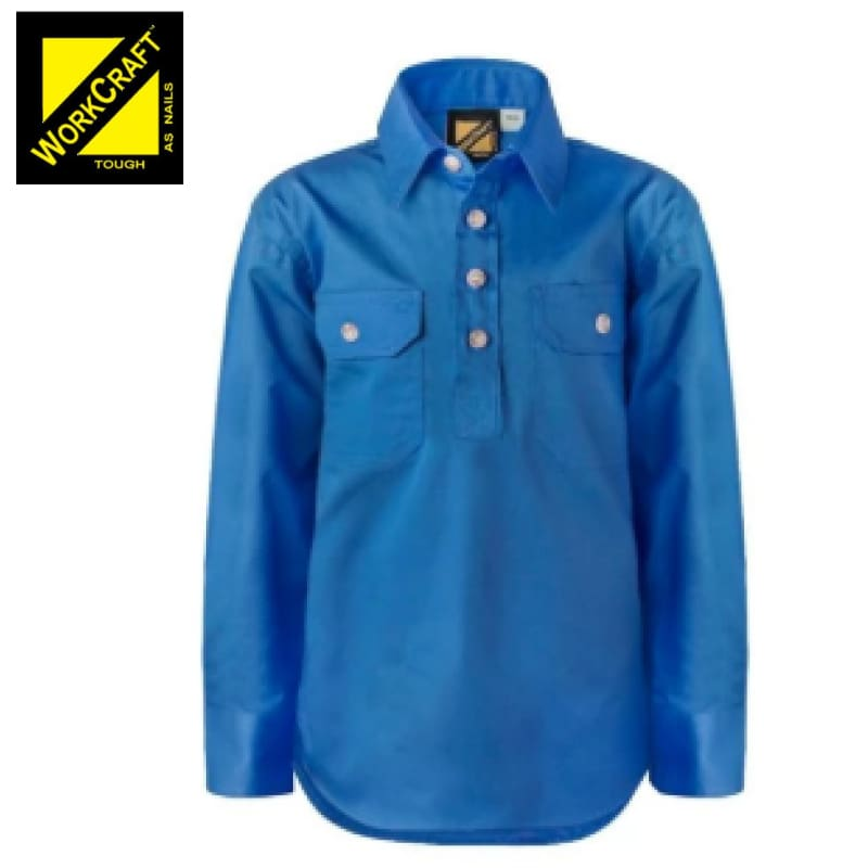 Workcraft Kids Shirt Cotton Drill L/sleeve With Buttons Cobalt Blue Workwear